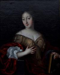 portrait de jeune femme tenant un livre by sébastien bourdon