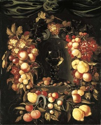 a roemer with walnuts and almonds in a niche surrounded by a garland of lemons, peaches, apricots, oranges, cherries and grapes with a red admiral, wasps and ladybirds, a canopy above by johannes borman