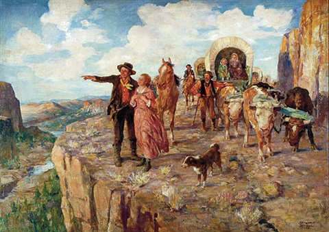 pioneers crossing the continental divide by arthur ernst becher on