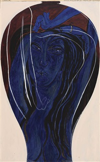 preliminary idea for very large plum and ultramarine vase or pot by brett whiteley