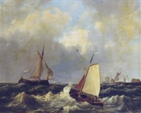 sailing on choppy waters by a coast by hendrik jacob elzer