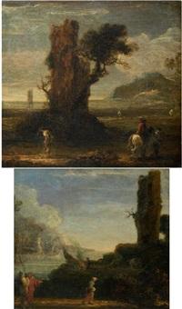 paysage aux pêcheurs (+ paysage aux voyageurs; pair) by jan de momper