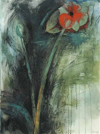 untitled - red flower by jan kabatoff