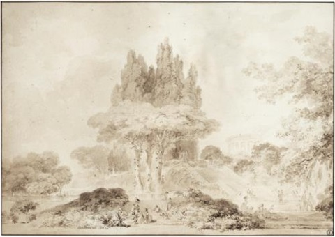 view of an italianate park with figures a villa behind by jean honoré fragonard
