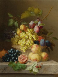 still life of flowers and fruit on a ledge by arnoldus bloemers