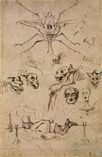 feuille d'études : monstres et homme embroché by prosper mérimée