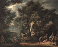storm in a forest with woodcutters and travellers taking cover by giovanni battista innocenzo colombo