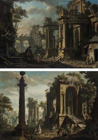 an architectural capriccio with figures by a fountain by giovanni battista innocenzo colombo