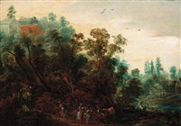 a wooded landscpe with travellers on a path by jacques backereel
