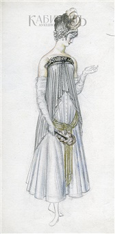 дама с веером. эскиз платья. by nikolai andreevich tyrsa
