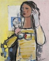 femme se coiffant by georges goldkorn