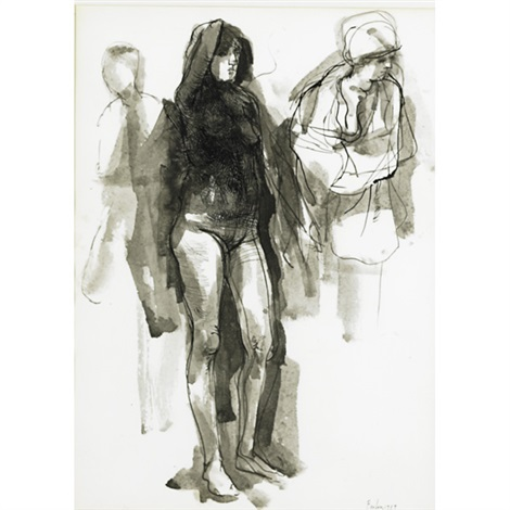 nude study with cloaked figure to right by william h bailey