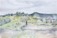 three township scenes (3 works) by durant basi sihlali
