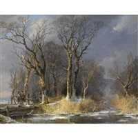 hunters in the snow by frans breuhaus de groot