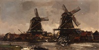view of mills on a river by frans langeveld