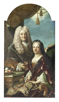 portrait of a gentleman, holding a snuff box, standing beside his wife, who is seated holding an embroidery by giulio pignatta