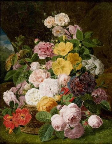 bouquet de fleurs dans un panier à lintérieur d une grotte by jan frans van dael