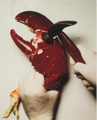 cracking a lobster claw new york by irving penn