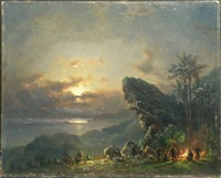 encampment at sunset in the tropics by fritz siegfried george melbye