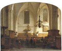 in de buurkerk te utrecht - a service in a sunlit church by jan jacob schenkel