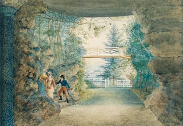 personnages visitant un jardin by antoine ignace melling