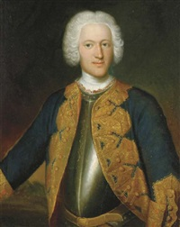 portrait of a gentleman (prince d'anhalt?), three-quarter-length, in armor and a blue coat with gold embroidery by georg lisiewski