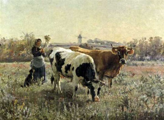 paysanne gardant les vaches by léon barillot