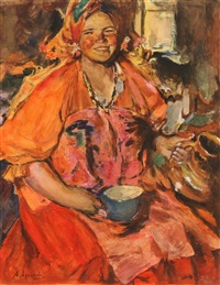 a smiling village woman by abram efimovich arkhipov