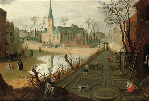 the month of february a village with peasants working the land and figures outside a church by abel grimmer