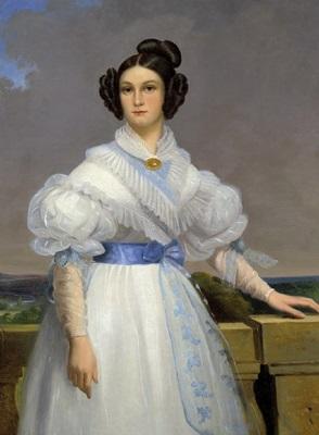 bildnis einer dame vor einem weiten landschaftshintergrund by claude noel thevenin