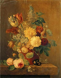 parrot tulips, roses, morning glory, narcissi and other flowers in a terracotta pot on a marble ledge by anthony oberman