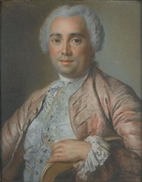 portrait of a gentleman, half-length in a salmon coat with a pale green brocaded waistcoat and a lace jabot by pierre allais