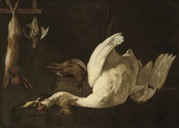 a still life of a swan suspended from a hook, a hare, a grey partridge, a pheasant on a barrel and a rabbit and song birds on a stone ledge by elias vonck