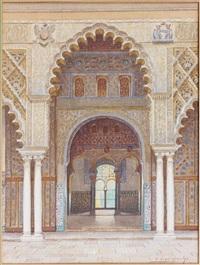 porte mauresque dans le patio de l'alhambra by f. liger hidalgo