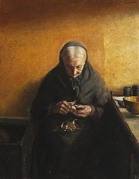 portrait of old ane brøndum peeling fruit by helga ancher