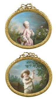 mademoiselle betzy cueillant des roses et un enfant tenant un nid d'oiseau (pair) by françois hubert drouais
