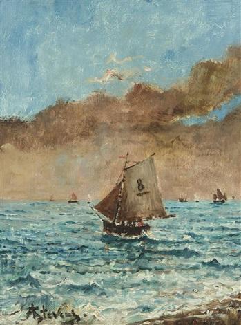 marine avec bateaux de pêche by alfred stevens