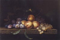 nature morte aux peches, prunes et raisins by paul liegeois