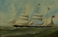 iron three masted barque lillian morris by h. versaille