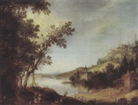 an extensive river landscape with travellers by a road, a castle beyond by claes dircksz van der heck