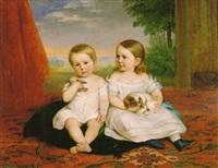 doble ritrato infantil: niño con un pájaro y niña con un perrito sentados sobre una alfombra ante un fondo de paisaje by carlos luis de ribera y fieve