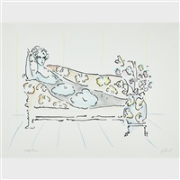 lady on couch i by peter max
