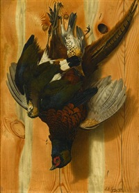 hanging game birds (+ another; pair) by john j. eyers