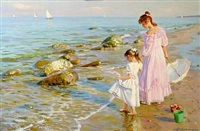 two girls on the beach by aleksandr averin