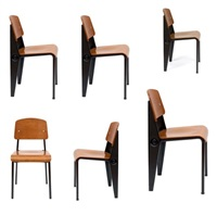 suite de six chaises démontables n°300 (set of 6) by jean prouvé