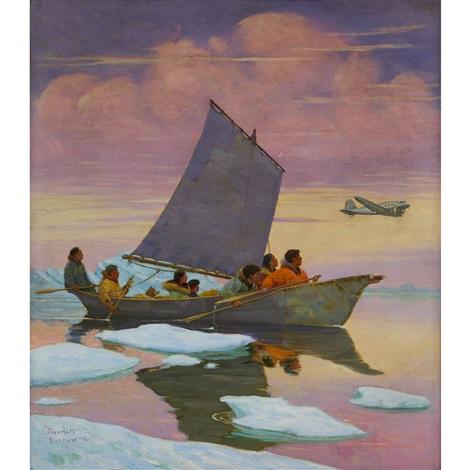 Inuit In An Umiak By Magnus Colcord Heurlin