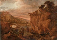 a rocky river landscape with figures on a track and a wooden bridge across a valley beyond by tobias verhaecht