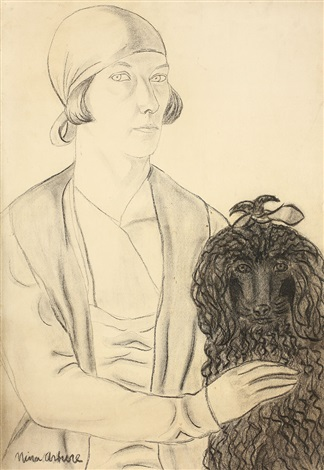 self portrait with poodle by nina arbore