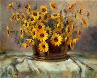 still life with yellow daisies by adriaan hendrik boshoff