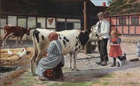 farm idyll with a cow being milked in the yard by lars soren jensen rastrup